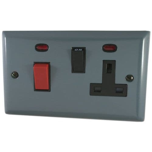 G&H SDG29B Spectrum Plate Dark Grey 45 Amp DP Cooker Switch & 13A Switched Socket